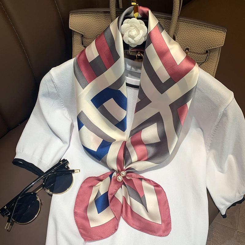 Brand Designer Silk Scarf For Women 2020 Spring New Plaid Shawl Wrap Foulard Bandana High Quality Square 70cm Neck Scarf