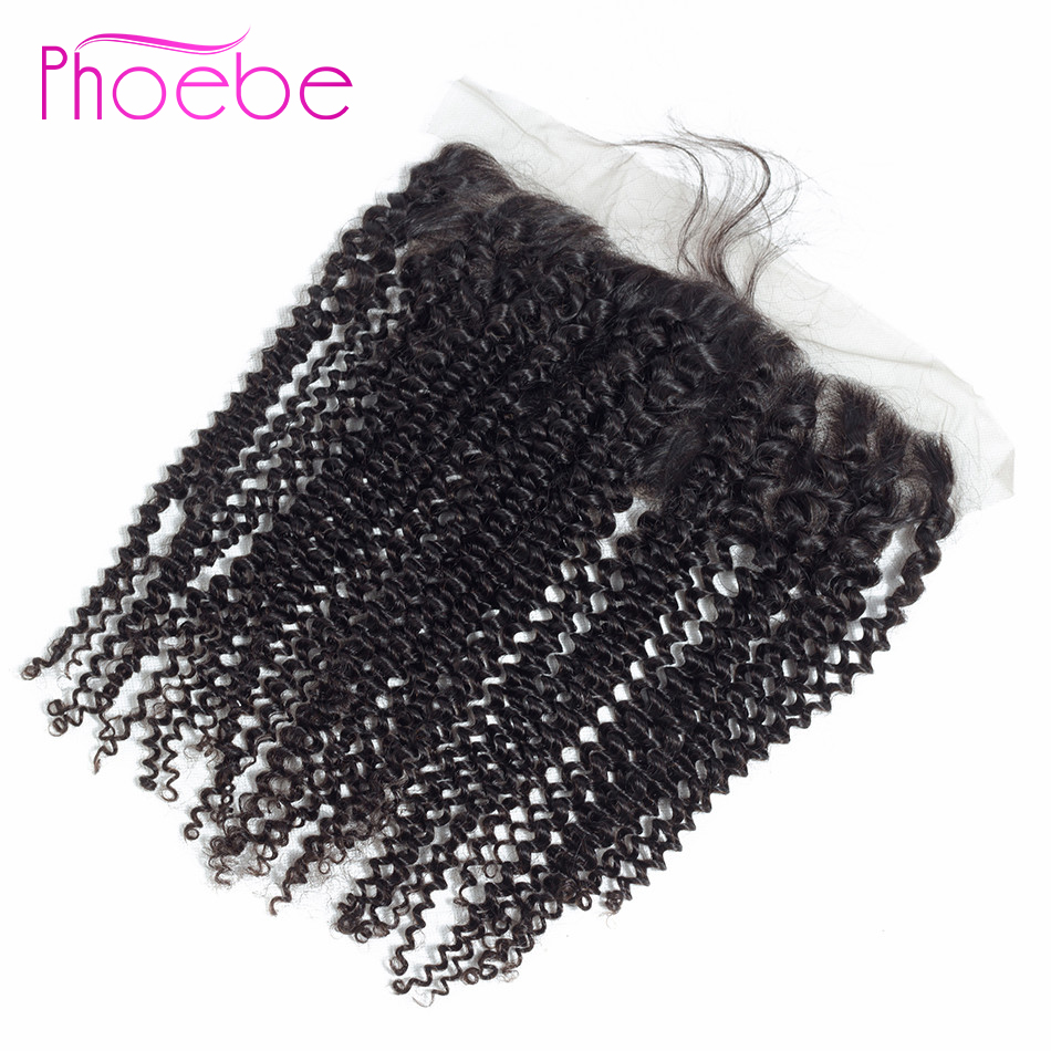 Phoebe Brazilian Kinky Curly Lace Frontal Closure 13*4 Ear to Ear Lace Closure With Baby title=