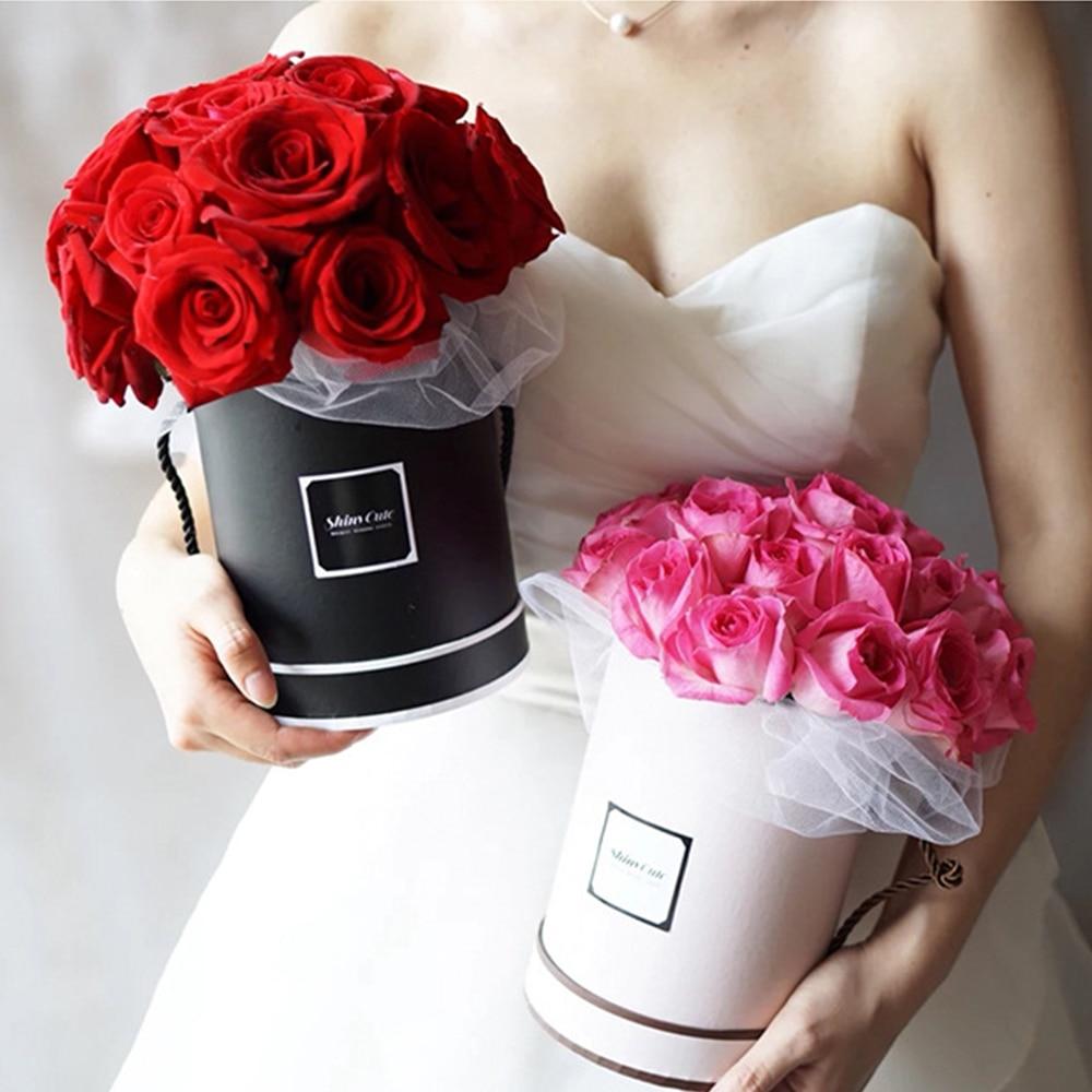 Ladies Presents Box Handheld Flowers Bouquet Mini Paper Packing Case Lid Hug Bucket Vase Replacement Florist Gift Storage Boxes
