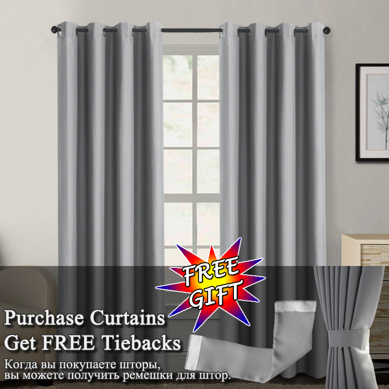 Image 3 - Flocked 100% Blackout Window Curtains Thermal Solid Curtain For Bedroom Living Room Fire Retardant Fabric Drapes-in Curtains from Home & Garden