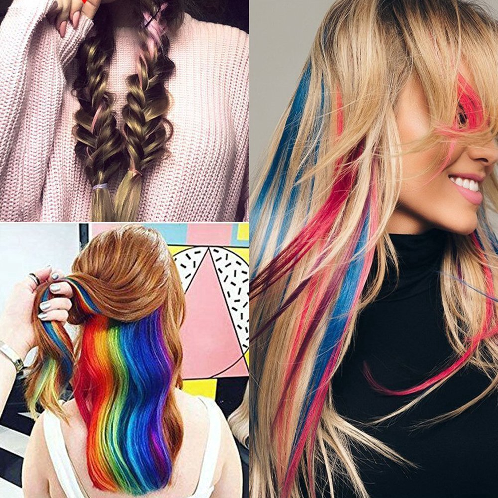 55cm Long Straight Colorful Hair Clip Highlight Rainbow Headband Hair Ties Women Hair Accessories Hairgrips Colored Hair Strands