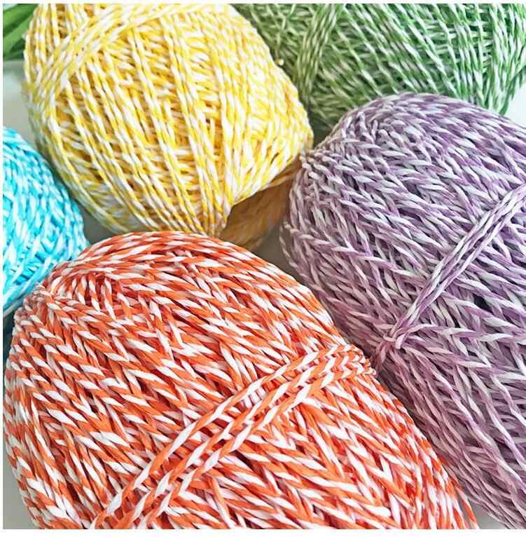 100G/lot Organic Garn für Stricken Bast Stroh Seil Garn Solide Häkeln Garn für DIY Handgemachte Hüte Körbe handwerk