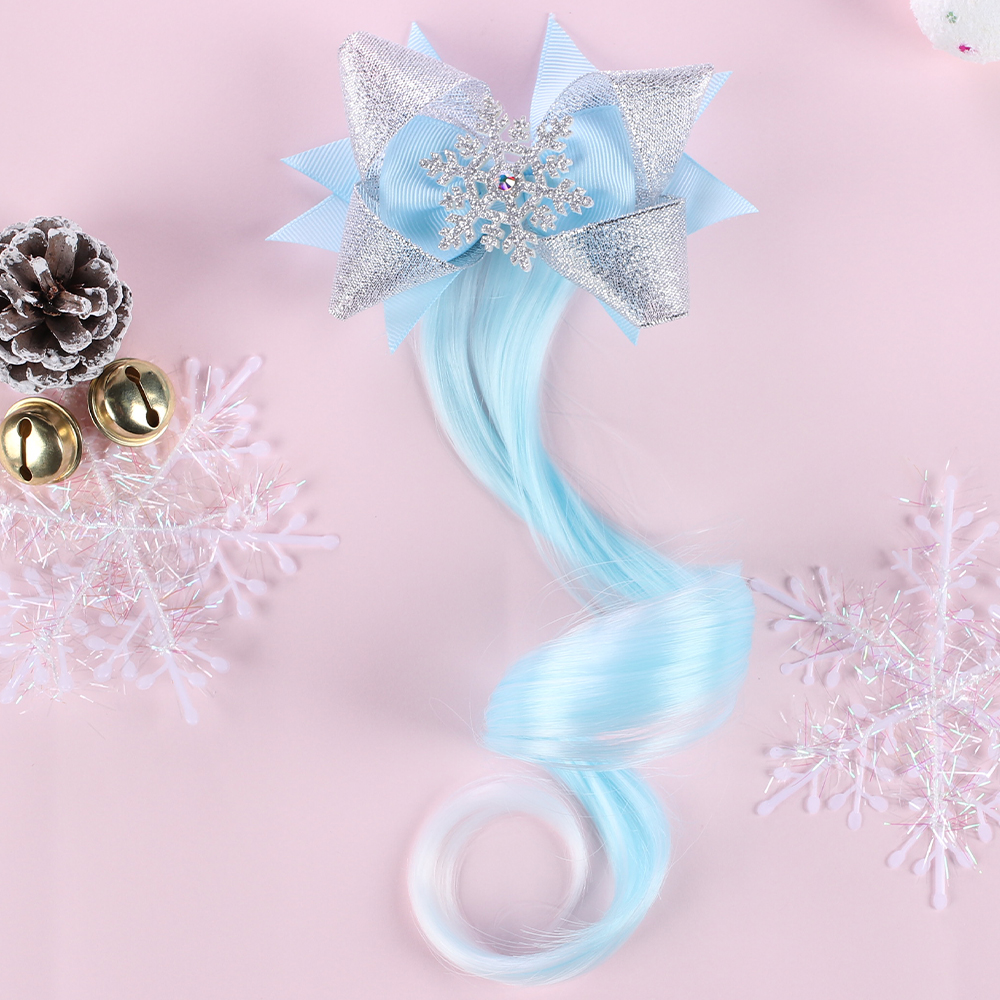 New Glitter Snowflake Bowknot Hair Clips For Girls With Long Wig Net Yarn Bow Hair Barrettes Kids Princess Hair Accessories