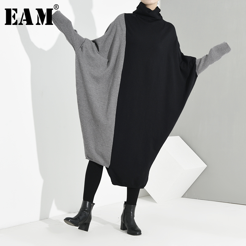 [EAM] Oversized Long Knitting Sweater Loose Fit Turtleneck Long Sleeve Women Pullovers New Fashion Spring Autumn 2020 JI9520