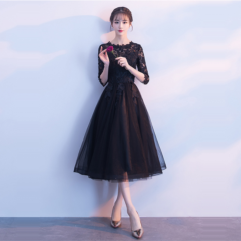 Formal Evening Dresses 2020 Black A-Line Women Banquet Gowns K293 Solid Lace Elegant Short Vestidos Knee-Length Party Dress