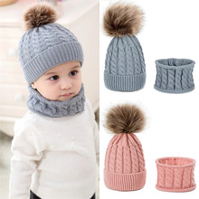 New Arrival Baby Winter Beanies Hat Girls Boys Hat Scarf Set Winter Warm Fur Ball Hats Scarves Kids Knitted Beanie Keep Warm Set(China)