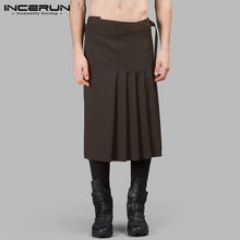 Scottish Men Skirts Solid Color Vintage Streetwear Personality Kilt Trousers Retro Traditional Mens Pleated Skirts S-5XL INCERUN(China)