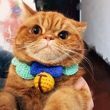 Hand-Knitted Wool Pet Cat Collar Accessories Cat Dog Universal Kitten Collar For Cats