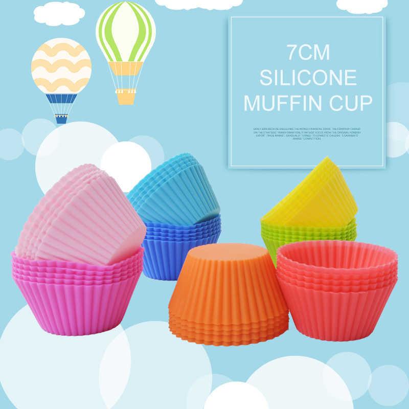 DIY Bentuk Bulat Baking Piala Liner Baking Cetakan Cetakan Silikon Cupcake Muffin Piala Cetakan Pembuat Ice Cream Tray Kue Dekorasi alat