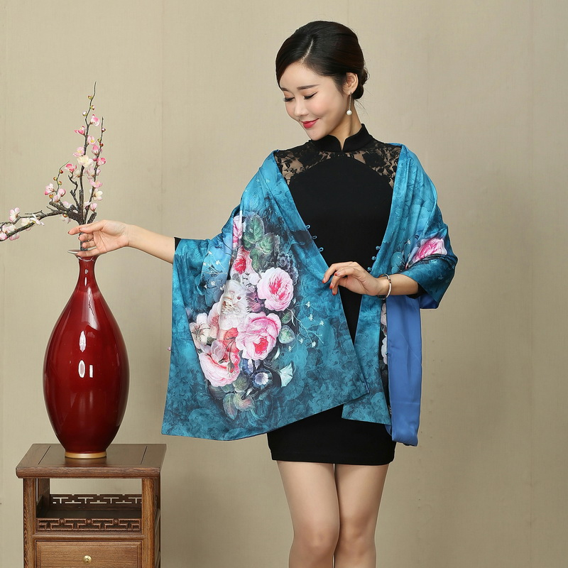 Oil Painting Cheongsam Shawl National Scarf With Button Women Silk Cashmere Scarf Retro Wedding Evening Party Tippet Wraps