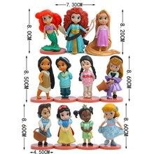 11 pçs/set Disney Princesa Figuras de Ação Brinquedos Boneca Rapunzel Rapunzel Neve Cinderela Branca de Neve de Fadas Decoração Presente Das Crianças