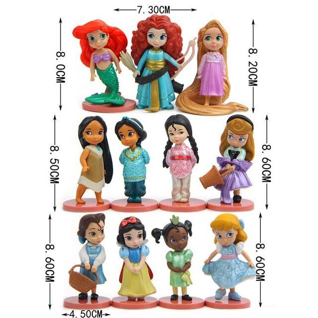 11 יח\סט דיסני נסיכת פעולה דמויות צעצועי רפונזל שלג סינדרלה לבן שלג פיות רפונזל בובת קישוט ילדי מתנה