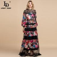 LD LINDA DELLA 2020 Spring Fashion Designer Vintage Maxi Dress Women's Long Sleeve Lace Patchwork Flowers Print Party Long Dress