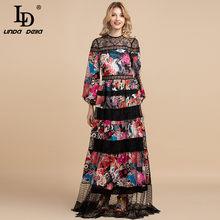 LD LINDA DELLA 2021 Summer Fashion Designer Vintage Maxi Dress abito da donna manica lunga in pizzo Patchwork stampa fiori abito lungo