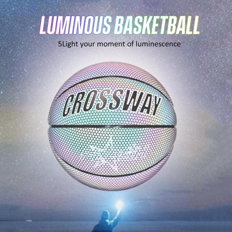 2020 Holographic Basketball Glowing Luminous NO.7 For Night Sports Wear-Resistant Glowing Basketbal Luminous Basketball