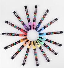 Uni Posca POP PC- Stylos marqueurs colorés pour peinture, crayon d'art de couleur à pointe moyenne de 0,9 à 1,3 mm, fourniture scolaire ou de bureau, se trouve en papeterie, disponible en 24 couleurs, 1 pièce,