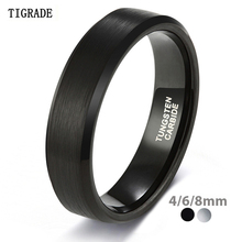 TIGRADE 4/6/8/mm Black Tungsten Carbide Ring Men Brushed Silver Color Wedding Band Women Engagement Rings For Male Jewelry