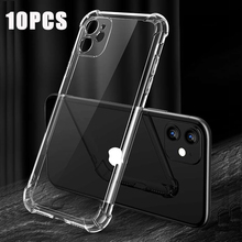 10Pcs Voor Iphone 12 Pro Case Voor Iphone 12 Max 12 Pro Max Case Clear Soft Silicone Tpu Cover voor Iphone 11 Xr Xs Max Terug Coques