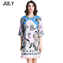 Dress 2019 summer womens retro abstract printed nail drill sequins trumpet sleeves fringed  loose round neck
