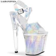 Laijianjinxia nova sandálias sexy 20 cm sandálias de salto alto sapatos de boate sapatos de dança pólo sapatos de moda salto alto sapatos femininos