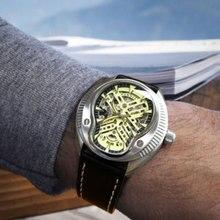 Reloj mecánico automático para hombre, reloj masculino con esfera negra de cristal de zafiro PARNIS de 44mm, con calendario, marca superior