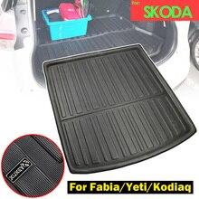 Für Skoda Fabia MK3 Yeti 5L Kodiaq Fracht Boot Tablett Liner Gepäck Hinten Stamm Boden Matte Teppich Fach Wasserdicht Zugeschnitten