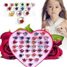 10pcs/lot Children's Crystal Rings Toy Candy Flower Heart Shape Ring Set Mix Finger Jewellery Rings Toys for Kids Girls
