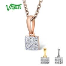 VISTOSO Gold Pendants For Women Authentic 14K 585 Rose White Gold Sparkling Diamond Simple Square Pendant Wedding Fine Jewelry недорого