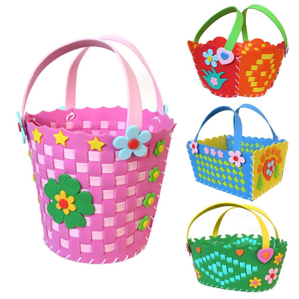 Beautiful Lovely DIY Cute Flower Handmade Craft Kids Develop Hands-on Skills Children Creativity Toys Braided Storage Basket Toy