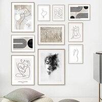 Figuras abstractas de chica, bocetos de cuerpo, lengüetas, carteles nórdicos e impresiones, cuadro sobre lienzo para pared, imágenes para decoración para sala de estar