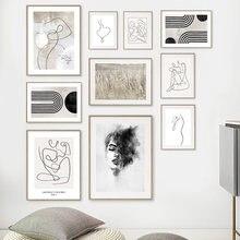 Абстрактные девушки фигурки тела эскиз тростники скандинавские плакаты и принты настенная живопись на холсте настенные картины для декора...