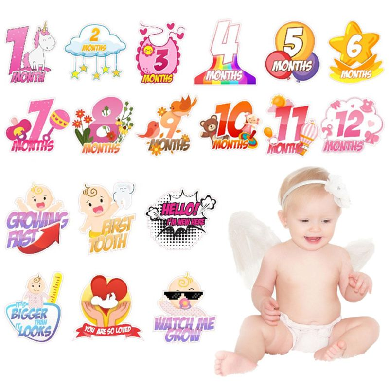 18 Pcs/Set Baby Girls&Baby Boys Milestone Stickers Newborn Baby Monthly Stickers Pregnant Monthly Memorial Photography Props