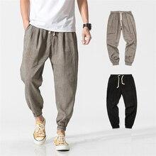 Мужские повседневные леггинсы в китайском стиле размера плюс, хлопковые льняные брюки, мужские летние японские штаны-шаровары с эластичной резинкой на талии