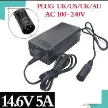 14.4 Of 14.6V 5A LiFePO4 Charger 4Serie 12V 5A Lifepo4 Acculader 14.4V Batterij Slimme Lader voor 4S 12V LiFePO4 Batterij