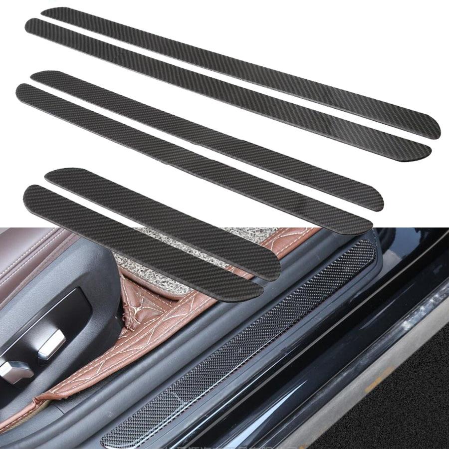 2pcs Car Door Sill Scuff Plate Universal Auto Threshold Cover Panel Carbon Fiber Step Protective Decorative Sticker Guard S/M/L
