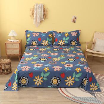 Bonenjoy 1 pc łóżko bawełna lniana niebieski kwiat drukowanie reaktywne płaskie prześcieradła 100 czystej bawełny rozmiar Queen pościel (bez poszewki na poduszkę) tanie i dobre opinie CN (pochodzenie) JD-CD 100 bawełna 600g Dorosłych Prześcieradło 400tc Jakość PLANT Drukowane Twill Blue for mattress