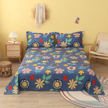 Flat-Bed-Sheets No-Pillowcase Flower Reactive-Printed Bonenjoy Queen-Size Cotton Blue