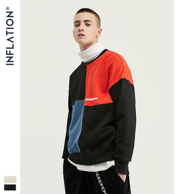 INFLATION DESIGN 2020  Oversized Men Sweatshirt Contrast Color Loose Fit Streetwear Men Autumn Casual Sweatshirt Cotton 9605W
