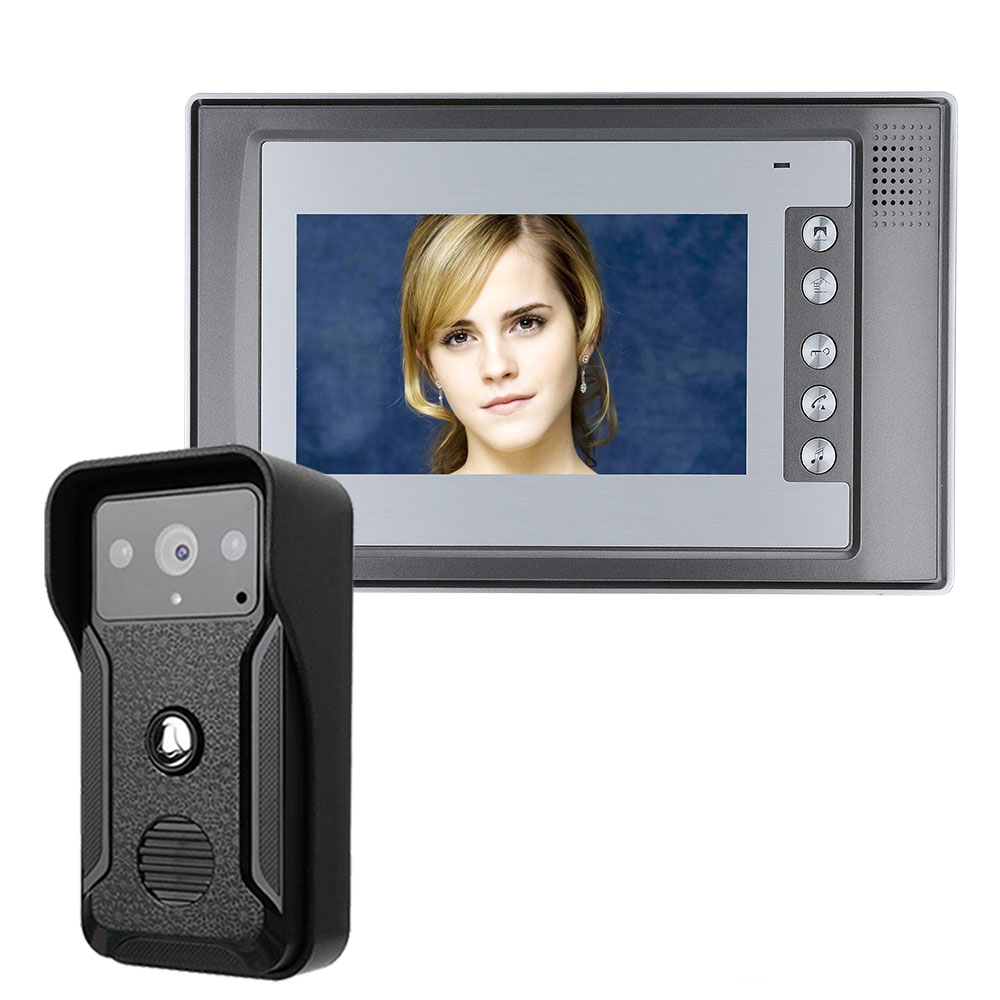 Visual Intercom Doorbell 7'' TFT LCD Wired Video Door Phone System Indoor Monitor 700TVL Outdoor IR Camera Support Unlock