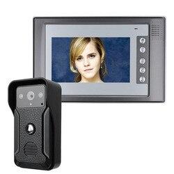 Visuele Intercom Deurbel 7 ''TFT LCD Bedraad Video Deurtelefoon Systeem Indoor Monitor 700TVL Outdoor IR Camera Ondersteuning Unlock