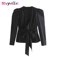 V Neck Blouse Bow Tie Womens Blouses and Tops Stylish Cross Design Long Sleeve Women Shirt Sexy Chic Solid Elegant Tops Women