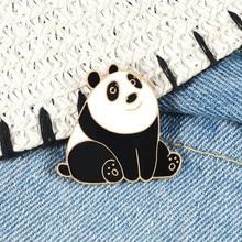 Bonito sorriso panda esmalte pino dos desenhos animados animais engraçados broches crachá personalizado mulheres mochila roupas lapela pinos jóias para crianças