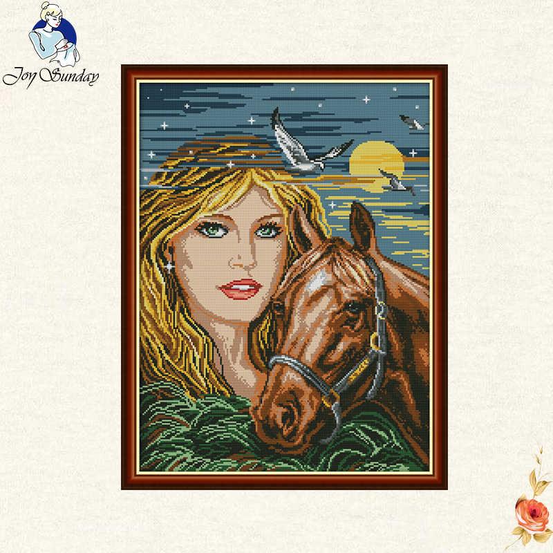 יפה את ילדה מודפסת סוס בד DMC נספר הסיני צלב סטיץ ערכות מודפס להגדיר רקמה רקמה