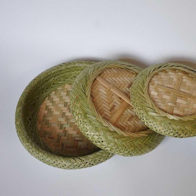 Bamboe Plaat Hand-Geweven Opslag Mand Boodschappen Ronde Opbergdoos Fruitschaal Snacks Desktop Opbergdoos Drogen Kooi 3 sets (S,