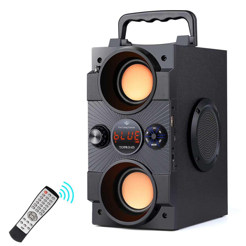 TOPROAD Portable Bluetooth Speaker 30W Big Power Heavy Bass Wireless Speakers Subwoofer Support Remote Control FM MIC TF AUX USB Outdoor Speakers  - AliExpress