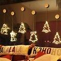Креативная присоска колокольчик Рождественская елка звезда Подвесная лампа LED ночные светильники окно сцена атмосфера лампа праздничный п...
