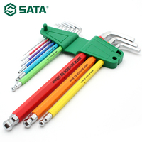 SATA 9 Pieces Colorful Portable Hex Key Wrench Set Ball End Hex Wrench Spanner L shape Allen Key Socket Wrench Set 09101CH