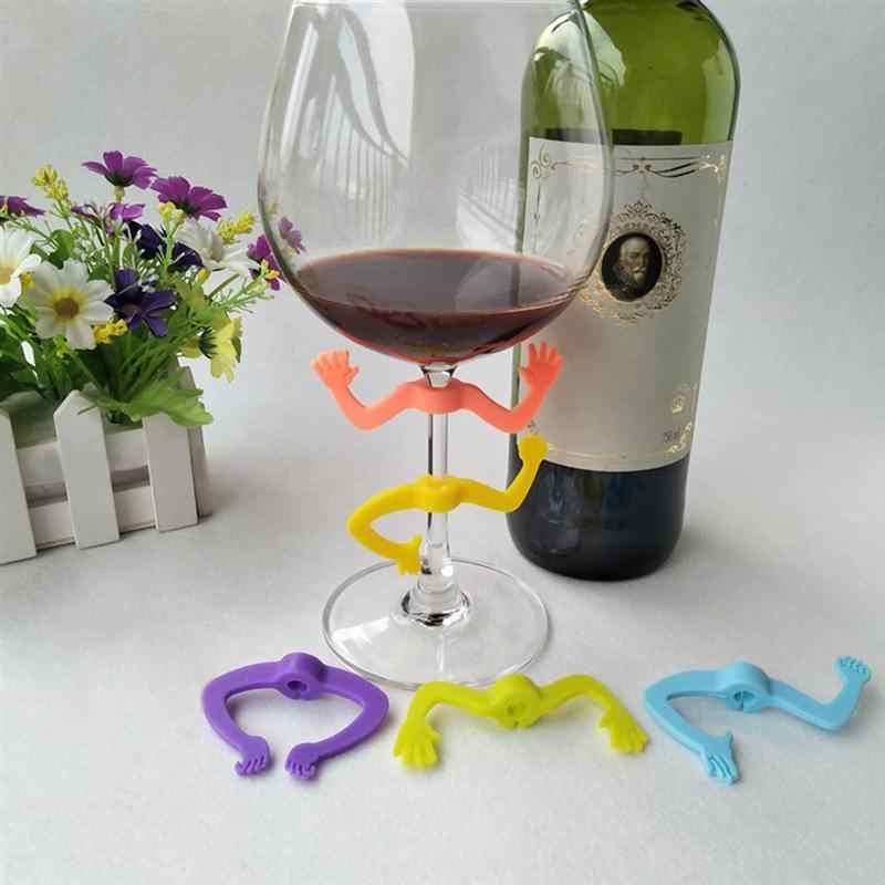 6 pçs marcador de vidro de vinho silicone charada criativa mãos forma copo bebendo identificador para champanhe