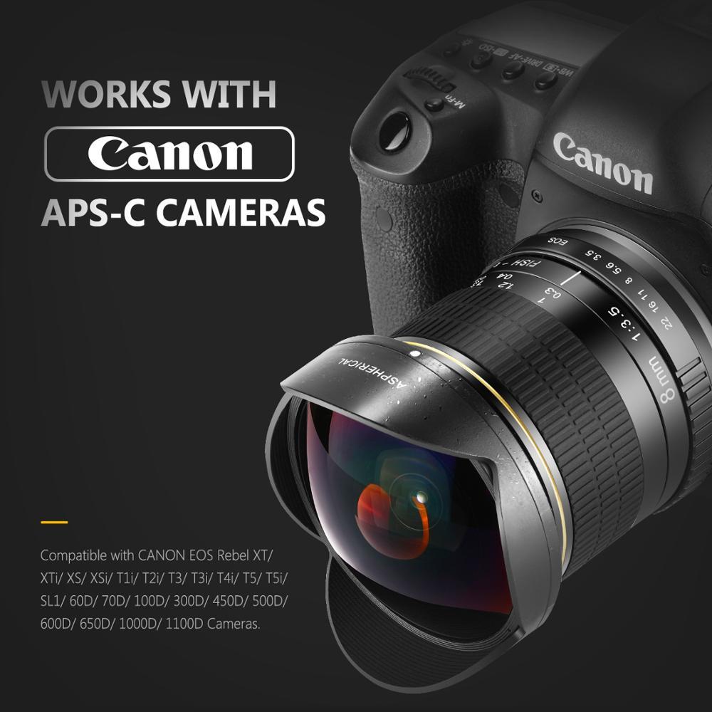 C-PL Fisheye Wide Angle Macro Lens for Canon EOS Digital Rebel T7i T6 i T5i sl1