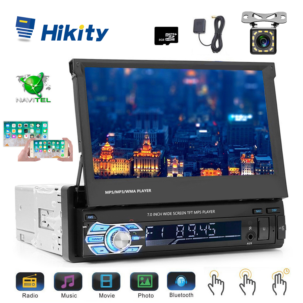 Hikity Podofo 1din Car Radio MP5 Player GPS Navigation Multimedia Car Audio Stereo Bluetooth 7 HD Retractable Autoradio Camera image